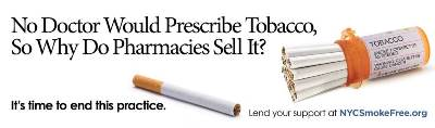 New York City advertisement opposed to tobacco sales in pharmacies